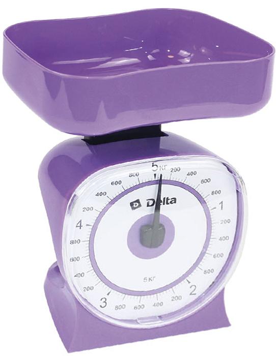 Delta КСА-106, Purple весы кухонные0R-00001630Весы бытовые настольные 5 кг DELTA КСА-106 с чашейПредельная масса взвешивания 5 кгЦена деления 40 гТип механическиеКорпус и чаша из высококачественного цветного пластикаТочная регулировка нулевого значенияАксессуары:Чаша для взвешивания