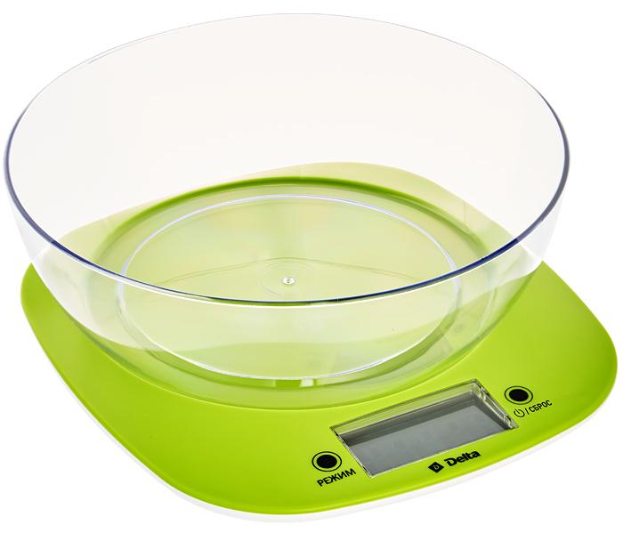 Delta КСЕ-32, Green весы кухонные0R-00001838Весы электронные настольные DELTA KCE-32 с чашейПредельная масса взвешивания 5 кгТочность взвешивания ± 1 гПлатформа из термостойкого пластикаLCD цифровой дисплейИндикатор низкого уровня заряда батареиИндикатор перегрузки весовФункция сброса веса тары и обнуления позволяет последовательно взвешивать ингредиенты блюда, не учитывая массу посудыАвтообнуление/автоотключениеВыбор единицы измеренияЭлектропитание: 2х1,5В ААА (в комплекте)