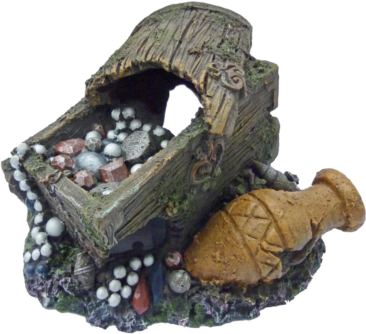 Грот Meijing Aquarium Сундук с сокровищами. WR-012WR-012Аквариумный грот – это отличный элемент дизайна. Оригинальные аквариумные украшения придают подводному ландшафту завершенный вид, что крайне важно, ведь одной из главнейших функций аквариума в интерьере является функция эстетическая. Но декорация-грот – это еще и прекрасное укрытие для рыбок и иных обитателей подводного мира. Особенно – в том случае, если кто-либо из ваших питомцев проявляет излишнюю агрессивность по отношению к соседям. В таком случае грот для аквариума окажется совершенно незаменимым. Грот Meijing Aquarium прекрасно впишется в любой интерьер аквариума. А в сочетании с другими элементами декора сделает среду обитания ваших рыбок максимально приближенной к морской среде. Декорация абсолютно безвредна для рыб и растений. Грот тонет и не требует дополнительной фиксации в аквариуме. Может использоваться как в пресной, так и в морской воде. Изделие не токсично, не тускнеет и не теряет цвета, краска не облазит.