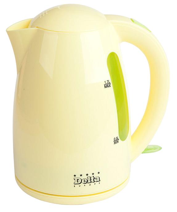 Delta DL-1302, Green Yellow чайник электрический0Р-00009836Чайник электрический 1,7л DELTA DL-1302Объем 1.7 лМаксимальная мощность 2200 ВтЗакрытый нагревательный элементКорпус из высококачественного жаропрочного пластикаВращение корпуса на 360°Прозрачная шкала уровня водыСветовой индикатор работыУдобство хранения электрошнураМногоуровневая защита: • автоматическое отключение при закипании • отключение при недостаточном количестве воды • отключение при снятии чайника с базы