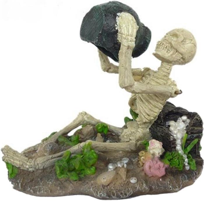 """Грот Meijing Aquarium """"Скелет с сокровищами"""", с распылителем воздуха. AO-012"""