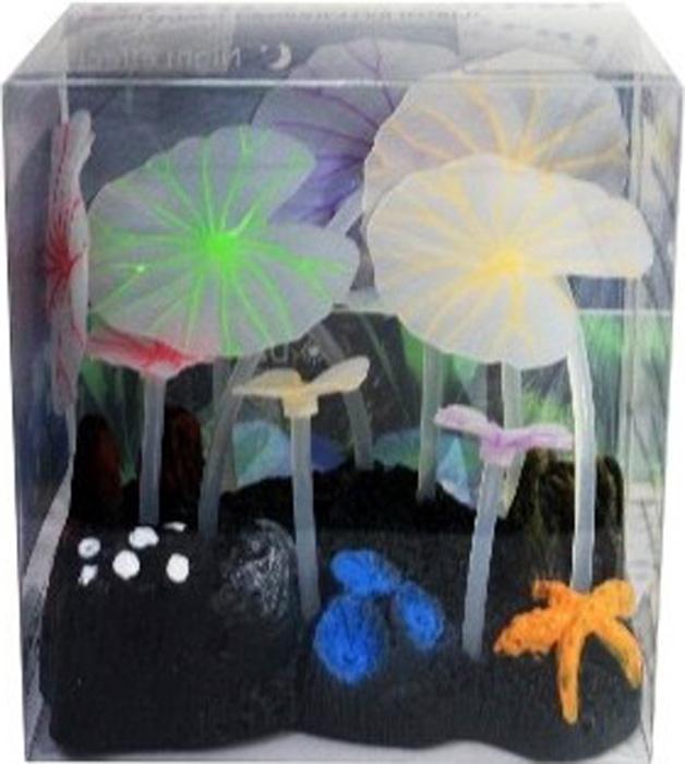 Светящийся декор Meijing Aquarium Грибы. AM0013AM0013Светящиеся декорации в аквариуме- несомненно завораживающее и необычное зрелище. Светящийся декор Meijing Aquarium выполнен из высококачественных нетаксичных материалов и обладает эффектом накопления света. Светящиеся декорации превосходно украсят любой аквариум.