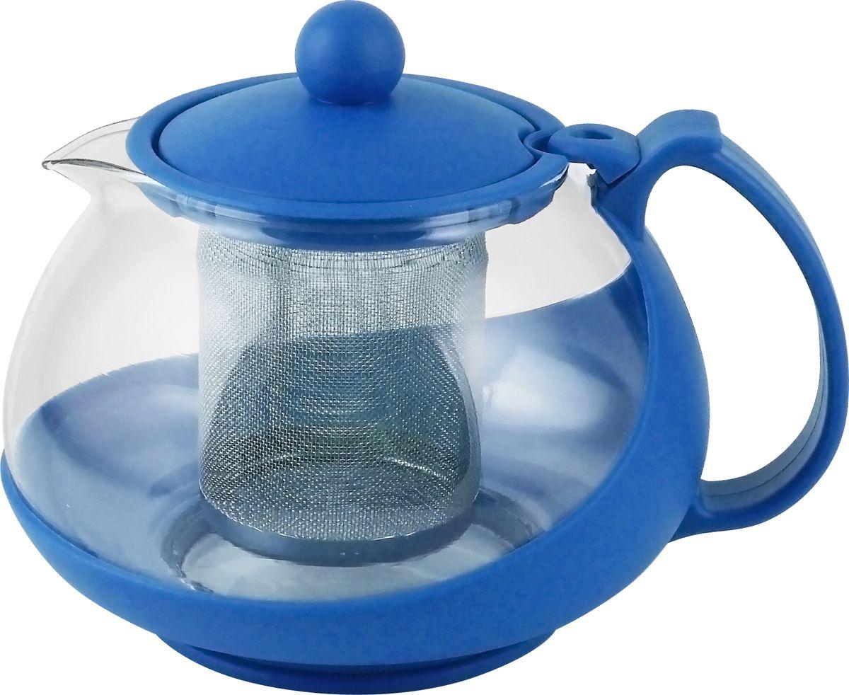 Чайник заварочный Irit, цвет: синий, 0,75 лKTZ-075-002Чайник заварочный 0,75л, термостойкий не нагревающийся пластик, ударостойкое жаропрочное стекло, фильтр из высококачественной нержавеющей стали
