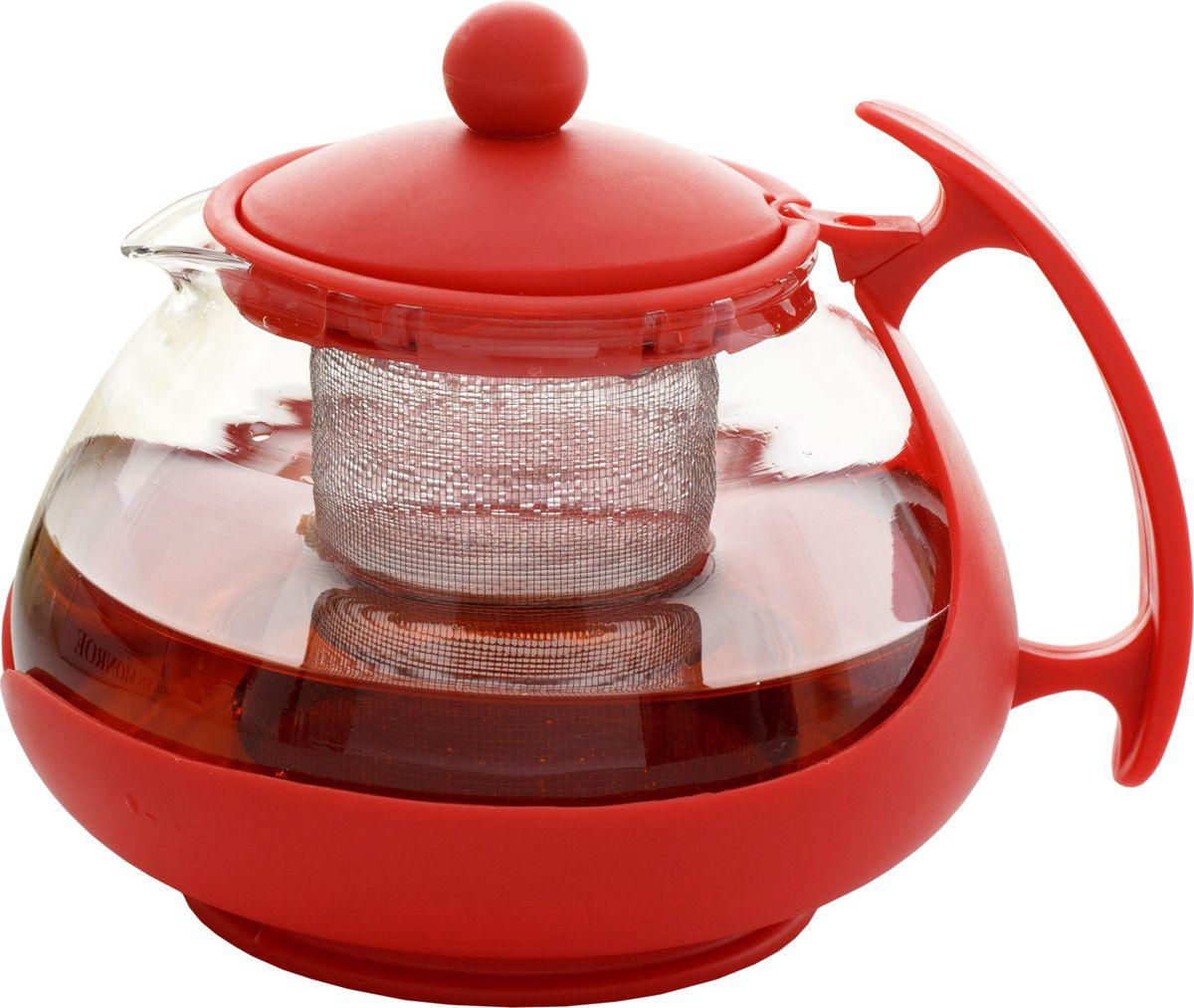 Чайник заварочный Irit, цвет: красный, 0,75 лKTZ-075-005Чайник заварочный 0.75 л, изготовлен из жаропрочного стекла. Фильтр из высококачественной нержавеющей стали. Оправа из прочного ненагревающегося пластика защищает колбу от толчков и ударов.Цвет: Красный