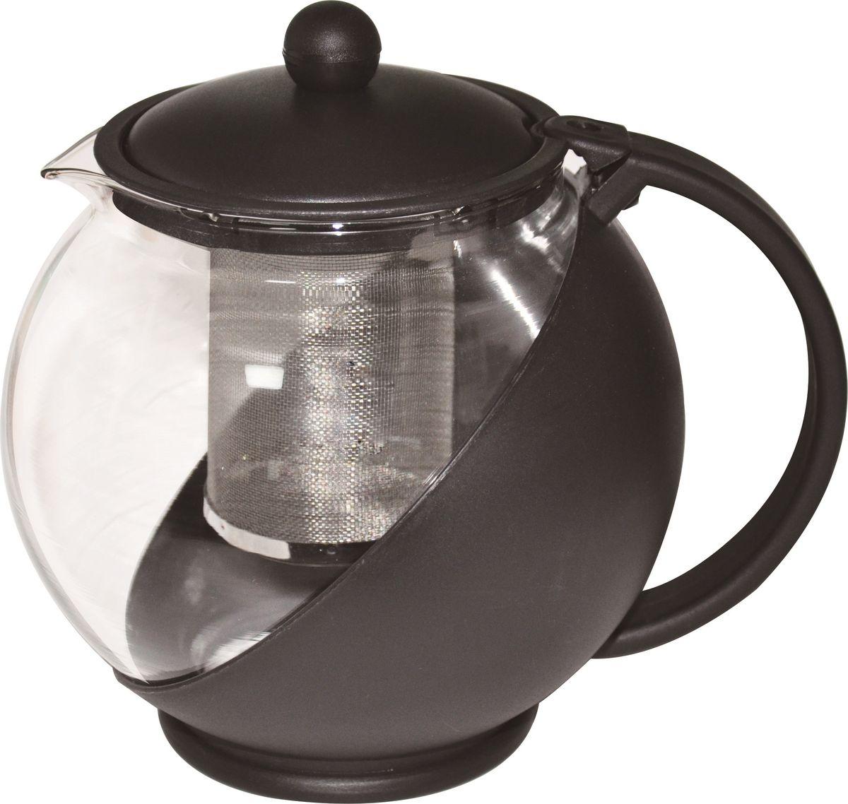 Чайник заварочный Irit, цвет: черный, 1,25 л137679Чайник заварочный 1,25л, термостойкий не нагревающийся пластик, ударостойкое жаропрочное стекло, фильтр из высококачественной хромо-никелевой нержавеющей стали. Черный.