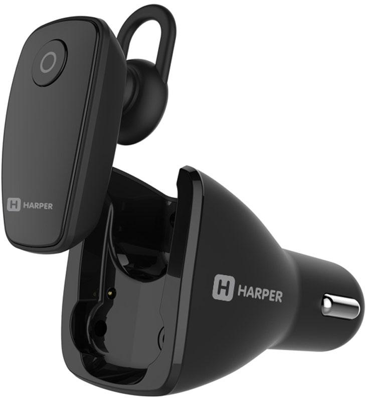 Harper HBT-1723, Black Bluetooth-гарнитура + автомобильное зарядное устройство00-00001363Harper HBT-1723 - комбинированное устройство Bluetooth-гарнитура плюс автомобильная зарядка 2 в 1.Гарнитура разрабатывалась специально для автовладельцев. Чтобы водитель уделял внимание только управлению транспортом, принять входящий звонок можно без дополнительных манипуляций. Достаточно просто снять гарнитуру с зарядки и вставить в ухо. Завершить вызов можно так же просто – установив наушник обратно в гнездо для зарядки.Для того, чтобы в момент бездействия Harper HBT-1723 не занимала много места, не мешалась в процессе эксплуатации, она имеет миниатюрные размеры (всего 43 x20 x10 мм), несмотря на это, наушник плотно фиксируется внутри ушного канала и не доставляет дискомфорта даже в процессе длительного использования.Несмотря на свои скромные размеры, встроенный литий-полимерный аккумулятор способен поддерживать работу гарнитуры в течение 4 часов активного использования. Полный цикл заряда занимает не более 1 часа.Установив зарядное устройство гарнитуры в прикуриватель, вы не потеряете источник тока. Инженеры Harper предусмотрели дополнительный USB-порт. К нему можно подключить внешние устройства общей мощностью до 2,4 А.Гарнитуру можно одновременно подключить к двум внешним устройствам. Теперь вам не придется выполнять настройку каждый раз заново.Умная микросхема не просто оптимизирует процесс зарядки, но и предохраняет вас от возможных перегрузок в цепи питания, в том числе и от коротких замыканий со стороны подключенных устройств.