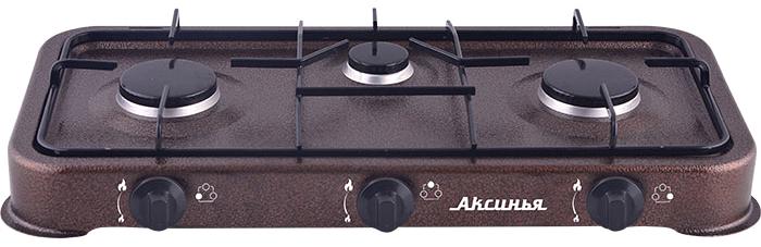 Аксинья КС-103, Brown плитка газовая0R-00002149Газовая плита настольная 3-конфорочная АКСИНЬЯ КС-103Номинальная мощность 0,54х2+0,43кВт Расход газа 0,350 кг/ч Давление газа 2800 Па Вид сжиженного газа пропан Количество конфорок 3 Тип настольная Система розжига горелки ручная Максимальная нагрузка на конфорку 10 кгЭмалированная рабочая поверхность Поворотные механические регуляторы пламени конфорки Цвет: коричневый Прибор предназначен для работы только с бытовыми газовыми баллонами Подсоединение газовой плиты к газовому баллону должно осуществляться при помощи резинового шланга и хомута