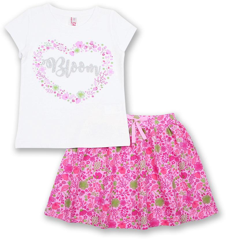 Комплект одежды для девочки Cherubino: футболка, юбка, цвет: белый, розовый. CAK 9661. Размер 104CAK 9661Комплект от Cherubino для девочки, состоящий из футболки и юбки, выполнен из тонкого трикотажа. Футболка из гладкокрашеного полотна, юбка из полотна с набивкой. Футболка с коротким рукавом, декорирована принтом. Горловина футболки обработана притачной бейкой из кулирки. Юбка с притачным поясом из основного полотна, с вставленной внутрь резинкой. Спереди на пояс настрочен декоративный бантик.