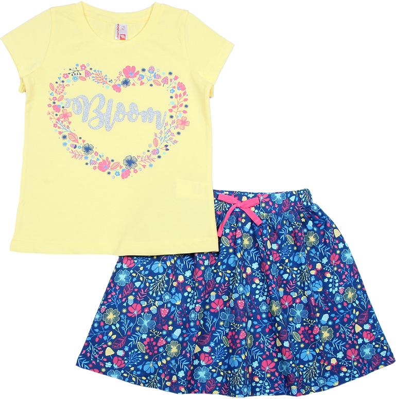 Комплект одежды для девочки Cherubino: футболка, юбка, цвет: желтый, синий. CAK 9661. Размер 98 браслет power balance бкм 9661