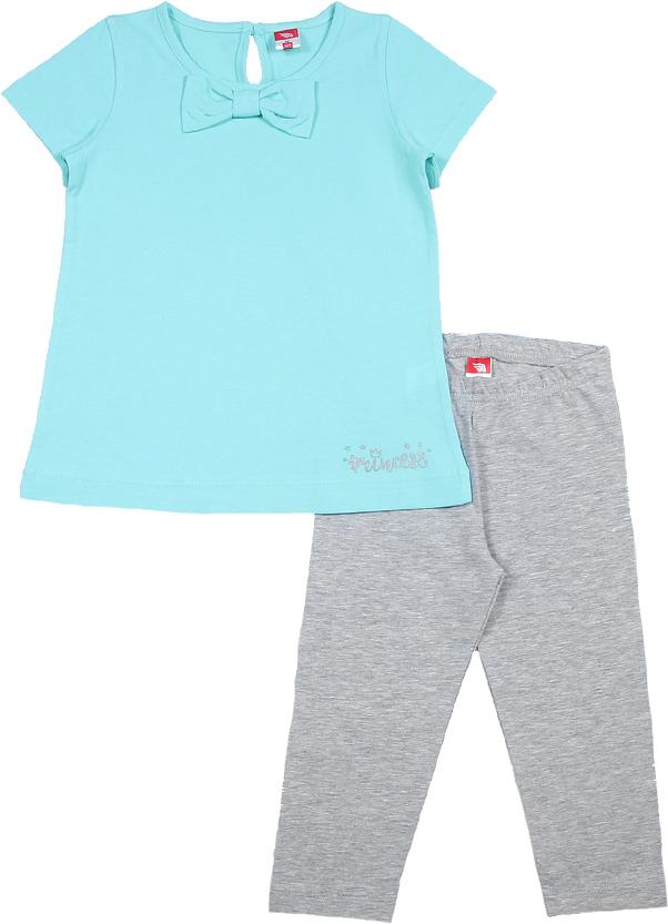 Комплект одежды для деочки Cherubino: футболка, бриджи, цет: сетло-бирюзоый, серый. CAK 9663. Размер 116