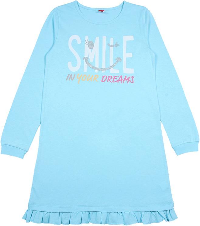 Ночная рубашка для девочки Cherubino, цвет: голубой. CAJ 5319. Размер 152CAJ 5319Ночная рубашка для девочки от Cherubino из тонкого гладкокрашеного трикотажа (кулирка). По низу рукава - манжет, по низу изделия - волан. Декорирована принтом.