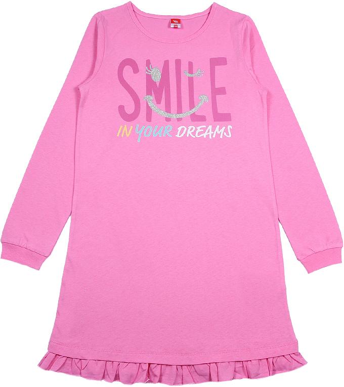 Ночная рубашка для девочки Cherubino, цвет: розовый. CAJ 5319. Размер 164CAJ 5319Ночная рубашка для девочки от Cherubino из тонкого гладкокрашеного трикотажа (кулирка). По низу рукава - манжет, по низу изделия - волан. Декорирована принтом.