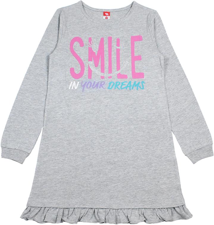Ночная рубашка для девочки Cherubino, цвет: серый меланж. CAJ 5319. Размер 164CAJ 5319Ночная рубашка для девочки от Cherubino из тонкого гладкокрашеного трикотажа (кулирка). По низу рукава - манжет, по низу изделия - волан. Декорирована принтом.