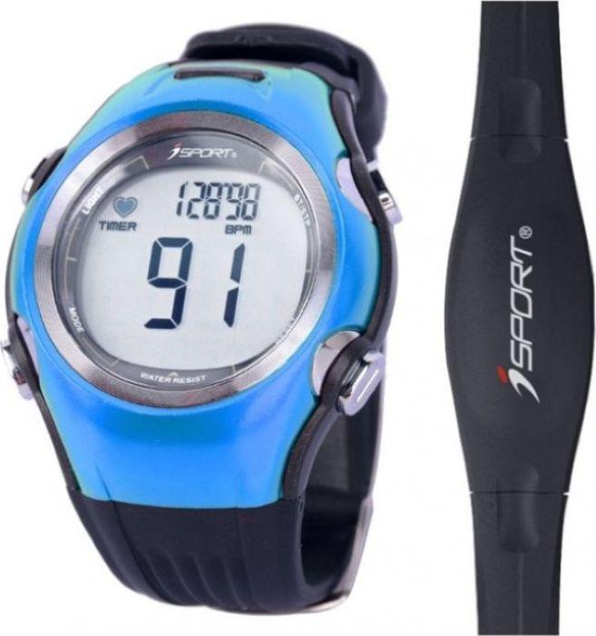 Часы спортивные iSport W117, с пульсометром, цвет: голубойISW117_blueСпортивные часы iSport W117 - для первых шагов в тренировках. Эти современные фитнес-часы с пульсометром помогут поддержать хорошую физическую форму и здоровую работу сердца.1. Аналоговый передатчик (5.3K).2. Выбор из 3 зон частоты пульса.3. Мониторинг ЧСС: -верхняя и нижняя зоны частоты сердечных сокращений,-уведомление при выходе из заданной зоны,-средняя и максимальная частота сердечных сокращений, % от макс. частоты сердцебиения.4. Настраиваемые данные (возраст, пол, вес, зона пульса, текущей уровень, верхний и нижний предел, уведомление при выходе из заданной зоны). 5. Данные тренировки, таймер.6. 1/100 Второй хронограф7. Водостойкий, подсветка (3 сек). 8. Нагрудный пояс-передатчик в комплекте. 9. Отображение времени и даты.10. Счетчик калорий.Материал: ABS, PU ремешок.Размер трекера: 5 x 4,4 см. Размер нагрудного пояса: 36 x 3см.Батарея: CR2032.