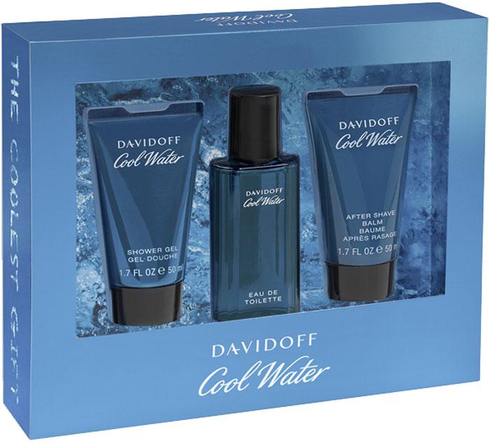 Davidoff Cool Water Man Подарочный набор мужской: Туалетная вода, 40 мл + Гель для душа, 50 мл + Бальзам после бритья, 50 мл туалетная вода davidoff cool water man объем 40 мл вес 90 00