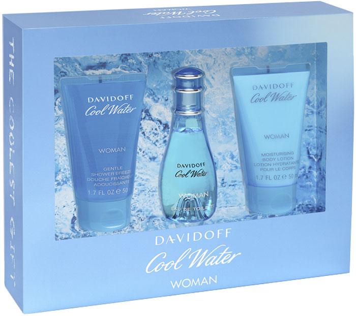 """Davidoff """"Cool Water"""" Woman Подарочный набор женский: Туалетная вода, 30 мл + Гель для душа, 50 мл + Лосьон для тела, 50 мл"""