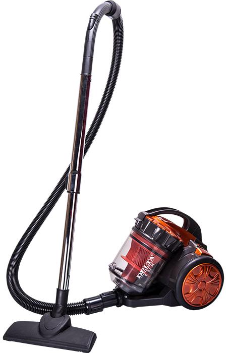 Delta LUX DL-0834, Orange Gray пылесос0R-00002757Пылесос DELTA LUX DL-0834 оранжевый с серымНоминальная мощность 1800 ВтМощность всасывания 350 ВтОбъём контейнера для сбора пыли 2 лУровень шума 85 дБДлина сетевого шнура 3 мСистема «Мультициклон» обеспечивает постоянную высокую мощность всасывания и эффективную уборку без использования мешка для сбора пылиМоющиеся антистатические воздушные фильтрыМногоуровневая система фильтрации воздухаРегулируемая мощность всасыванияРегулировка силы воздушного потокаМеталлическая телескопическая трубаВертикальная парковка трубы всасывания на корпусе для удобства храненияУдобная ручка для переноскиАвтоматическое сматывание сетевого шнураНизкий уровень шумаАвтоматическое отключение при перегревеАксессуары:Универсальная насадка «ковер/пол»Комбинированная щелевая насадкаМеталлическая телескопическая трубаШланг с ручкой