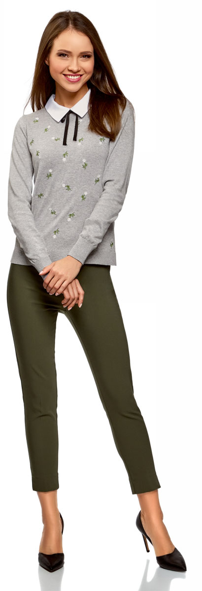 Джемпер женский oodji Ultra, цвет: серый, белый. 63812630/47600/2310B. Размер L (48)63812630/47600/2310B