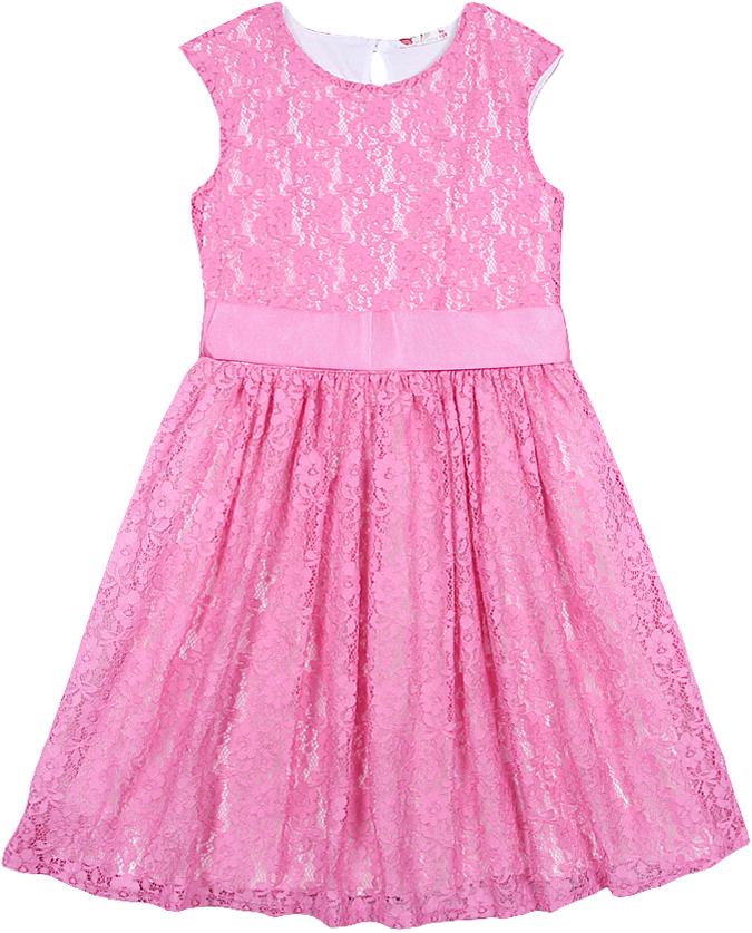 Платье для девочки Cherubino, цвет: розовый. CAJ 61687. Размер 134CAJ 61687Платье от Cherubino без рукавов, из гладкоокрашенного гипюра. Юбка многослойная. Средний слой - жесткая сетка. Подкладка - кулирка из 100% хлопка. Цвет подкладки контрастный по отношению к цвету гипюра. На талии пояс из сатиновой репсовой ленты, завязывающейся на бант. На спинке застежка на пуговицу. Пуговица со стразами.