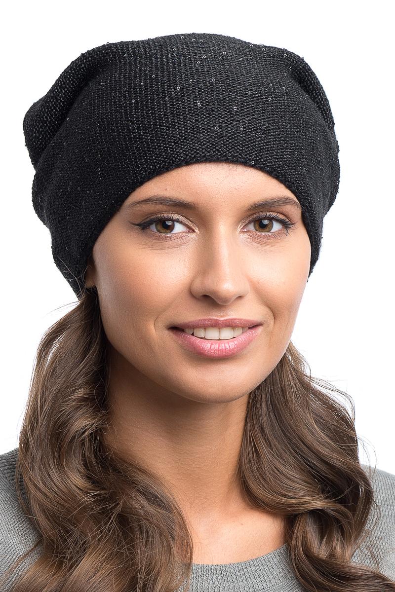 Шапка женская Nuages, цвет: черный. NH-708/01. Размер универсальныйNH-708/01Женская вязаная шапка на трикотажном подкладе (двойной вывязки). Декорирована мелкими пайетками. Универсальный размер 52-56.