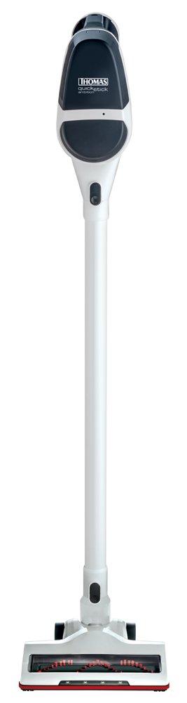 Thomas QuickStick Ambition, White вертикальный пылесос785300Thomas QuickStick Ambition - портативный легкий пылесос для сухой уборки. Идеален для экспресс-уборки любых помещений. Электрическая турбощетка с подсветкой для уборки в затемненных местах не оставит пыли ни единого шанса. К тому же она легко чистится после уборки за счет снимающегося валика.