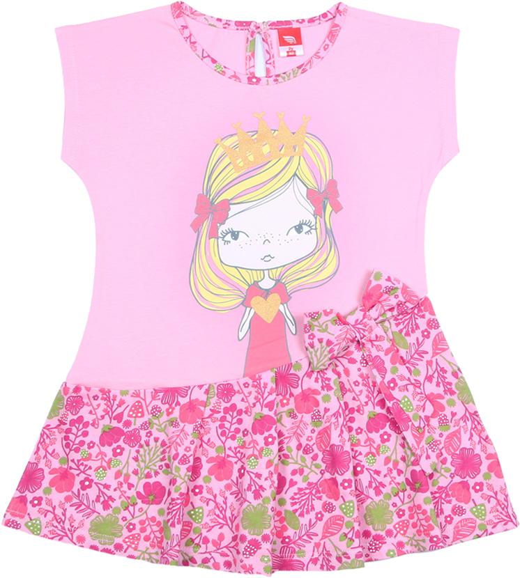 Платье для девочки Cherubino, цвет: светло-розовый. CAK 61664. Размер 98CAK 61664Платье от Cherubino со спущенной линией плеча из кулирки. Перед и спинка из гладкокрашеного полотна, а юбка и бейка горловины из полотна с набивкой. По переду декорировано принтом Принцесса. Застежка по спинке на пуговицу.