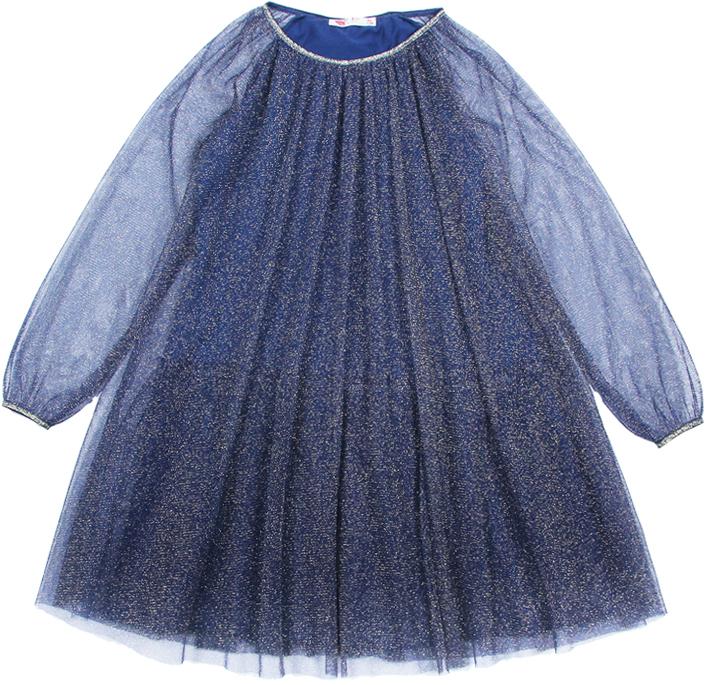 Платье для девочки Cherubino, цвет: темно-синий. CAK 61689. Размер 140CAK 61689Платье от Cherubino из сетки с люрексом, с длинными рукавами. Перед, спинка и рукава из одного слоя сетки с люрексом. Подкладка - кулирка из 100% хлопка. На кулирку настрочен волан из мягкой гладкой сетки. Горловина и низ рукавов обработаны эластичной тесьмой с люрексом.