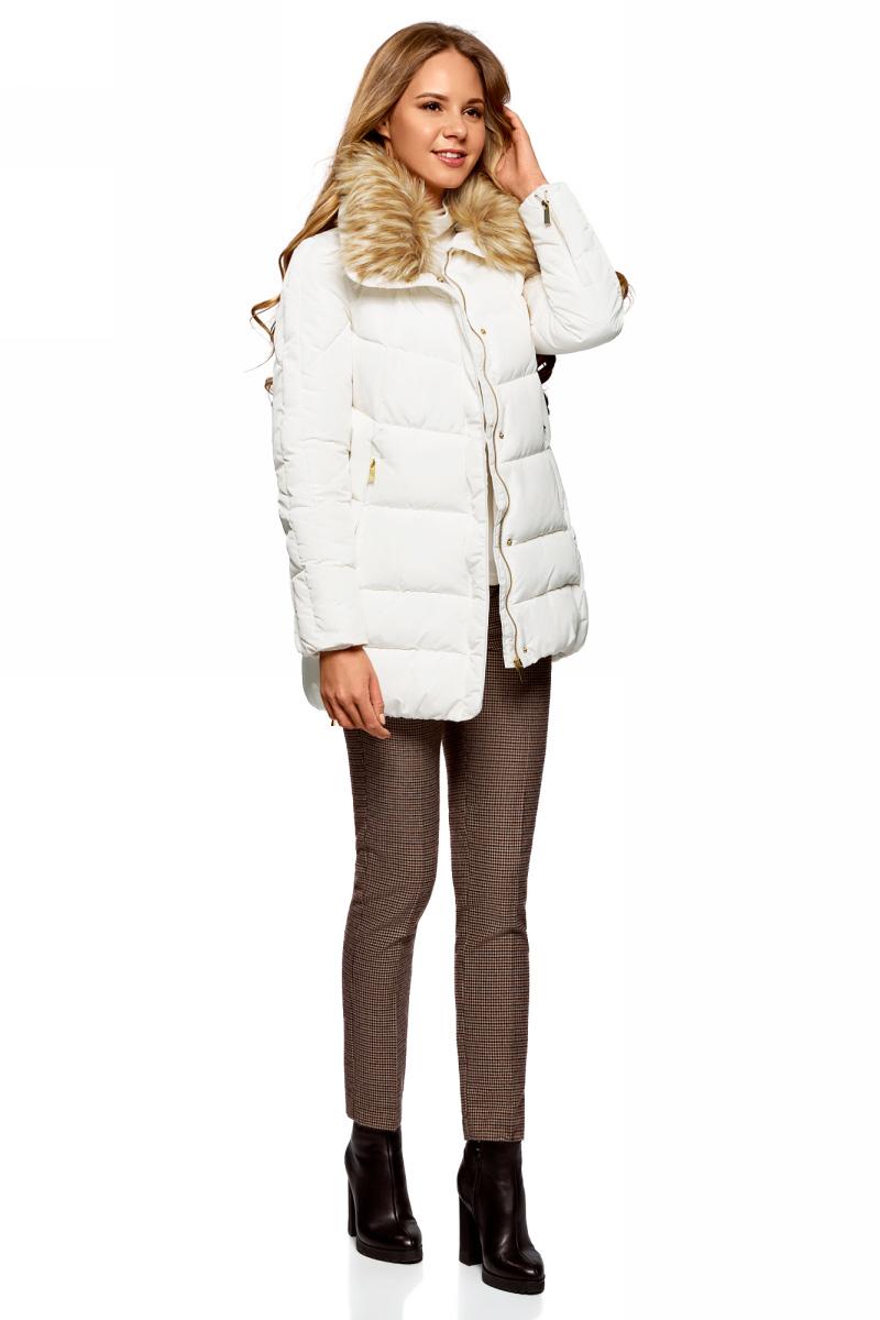 Куртка женская oodji Ultra, цвет: белый. 10210002-1/46266/1200N. Размер 44-170 (50-170)10210002-1/46266/1200N