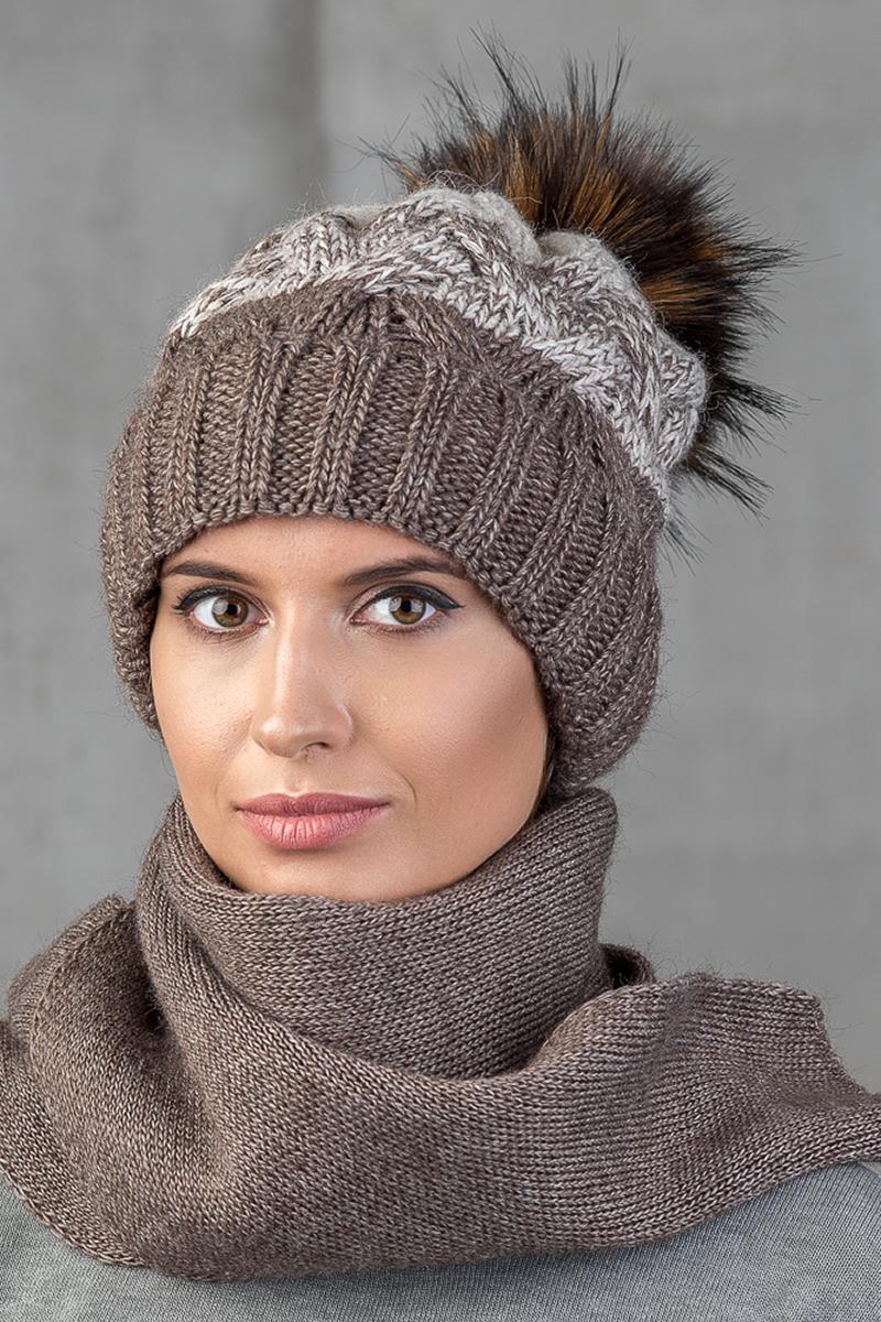 Шапка женская Nuages, цвет: темно-коричневый. NH-748/013. Размер универсальный - Зимняя рыбалка