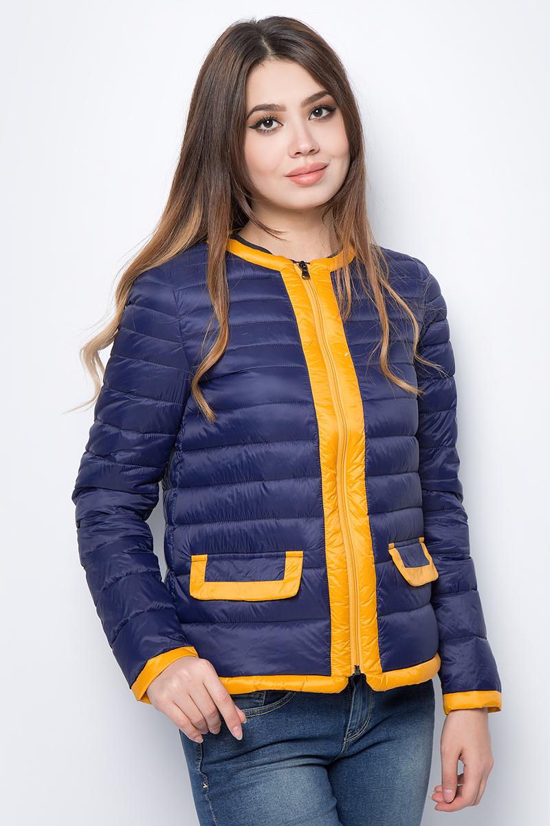 Куртка женская United Colors of Benetton, цвет: синий, желтый. 2BA2533P4_901. Размер 38 (40)