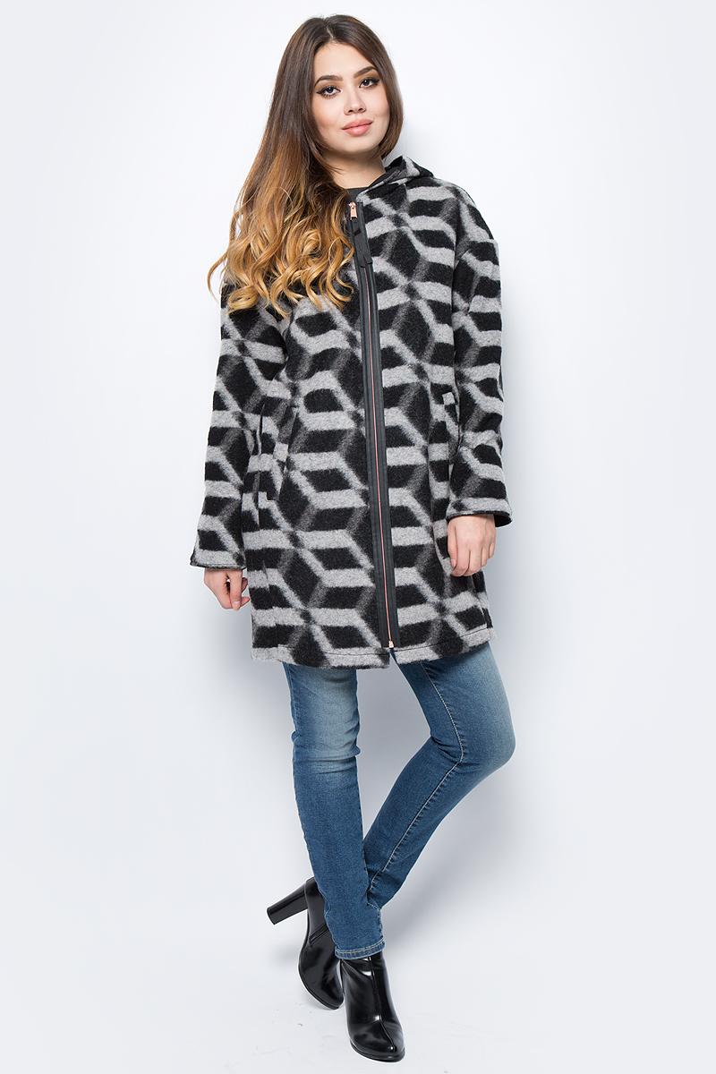 Пальто женское United Colors of Benetton, цвет: черный. 2UP75K1Q3_901. Размер 42 (44)2UP75K1Q3_901Пальто женское United Colors of Benetton выполнено из качественного материала. Модель с капюшоном застегивается на молнию.