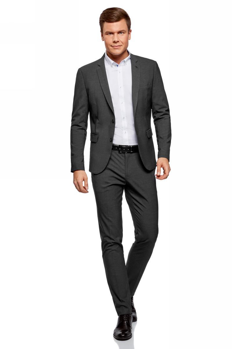 Пиджак мужской oodji Basic, цвет: темно-серый. 2B420019M/44320N/2500M. Размер 54-182 (54-182)2B420019M/44320N/2500MМужской пиджак от oodji выполнен из высококачественного материала. Пиджак с длинными рукавами имеет воротник с лацканами и застегивается на пуговицы. Спереди модель дополнена карманами.