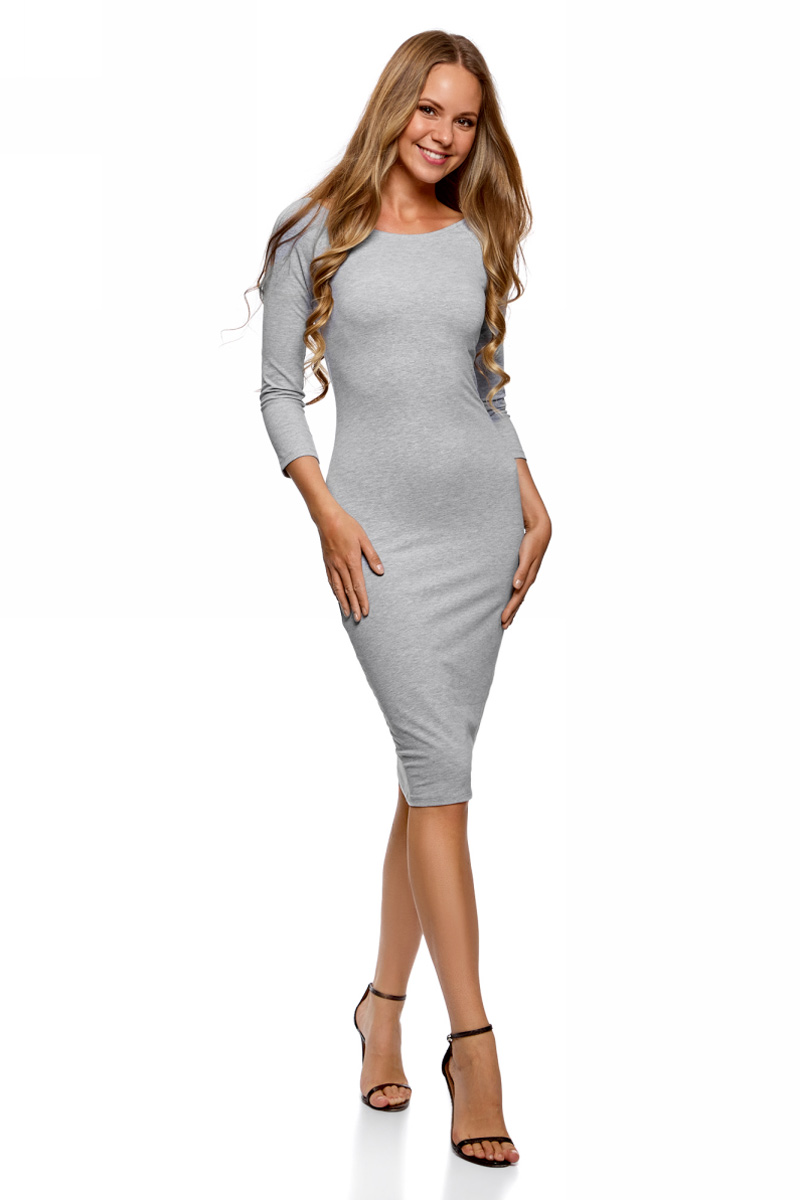 Платье oodji Ultra, цвет: светло-серый меланж, 3 шт. 14017001T3/47420/2000M. Размер XL (50) платье oodji ultra цвет сиреневый 14017001 6b 47420 8000n размер xl 50