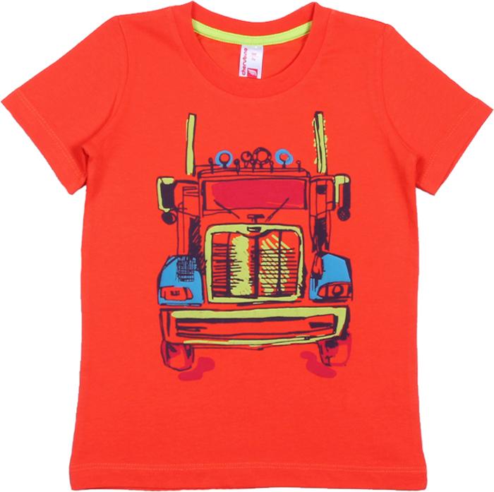 Футболка для мальчика Cherubino, цвет: красный. CAK 61666. Размер 98CAK 61666Футболка от Cherubino для мальчика, из тонкого трикотажа (кулирка) с короткими рукавами, декорирована принтом Грузовик. Горловина обработана притачной бейкой из рибаны с лайкрой.