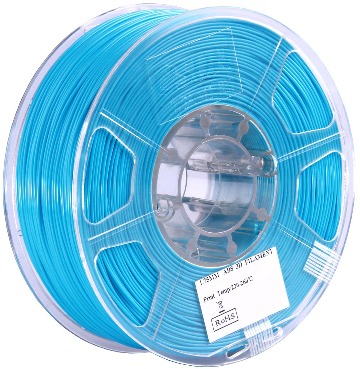 ESUN пластик ABS в катушке, Light Blue, 1,75 мм ABS175D1ABS175D1Пластик ABS от ESUN долговечный и очень прочный полимер, ударопрочный, эластичный и стойкий к моющим средствам и щелочам. Один из лучших материалов для печати на 3D принтере. Пластик ABS не имеет запаха и не является токсичным. Температура плавления 220-260°C. АБС пластик для 3D-принтера применяется в деталях автомобилей, канцелярских изделиях, корпусах бытовой техники, мебели, сантехники, а также в производстве игрушек, сувениров, спортивного инвентаря, деталей оружия, медицинского оборудования и прочего.Диаметр пластиковой нити: 1.75 мм