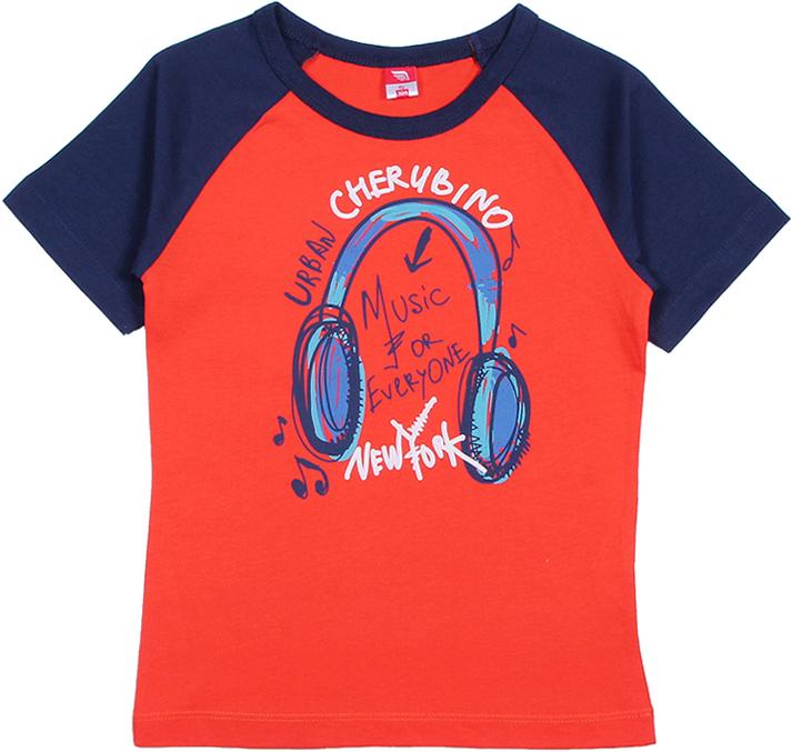 Футболка для мальчика Cherubino, цвет: красный. CAK 61667. Размер 104CAK 61667Футболка от Cherubino для мальчика, с рукавом-реглан из двух разных по цвету гладкокрашеных полотен. Декорирована принтом Наушники. Горловина обработана окантовочной бейкой из рибаны с лайкрой.