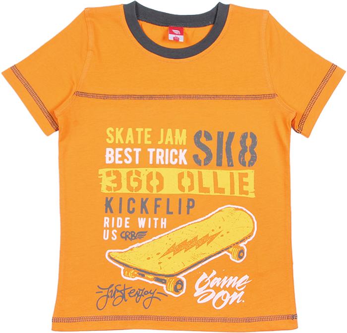 Футболка для мальчика Cherubino, цвет: оранжевый. CAK 61668. Размер 98 комплект для мальчика cherubino футболка шорты цвет желтый cak 9666 размер 122