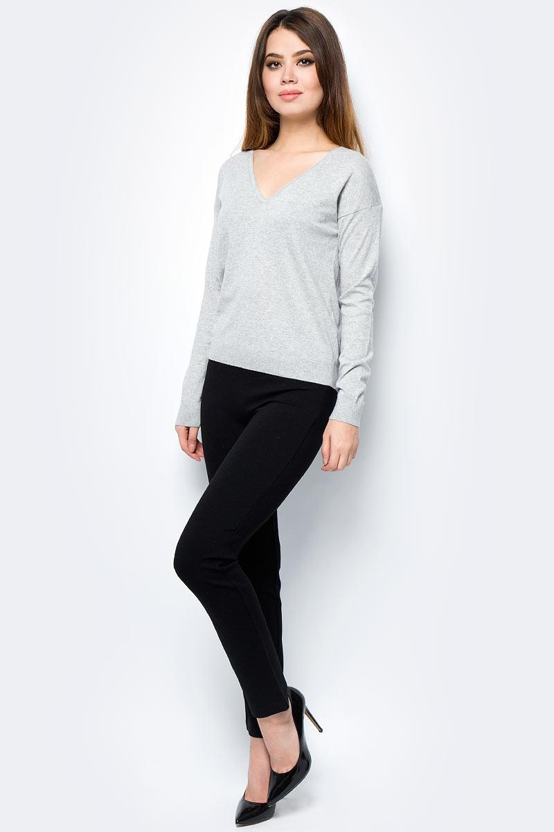 Пуловер женский United Colors of Benetton, цвет: серый. 12EAD4324_501. Размер S (42/44)12EAD4324_501Пуловер женский United Colors of Benetton выполнен из качественного материала. Модель с V-образным вырезом горловины и длинными рукавами.