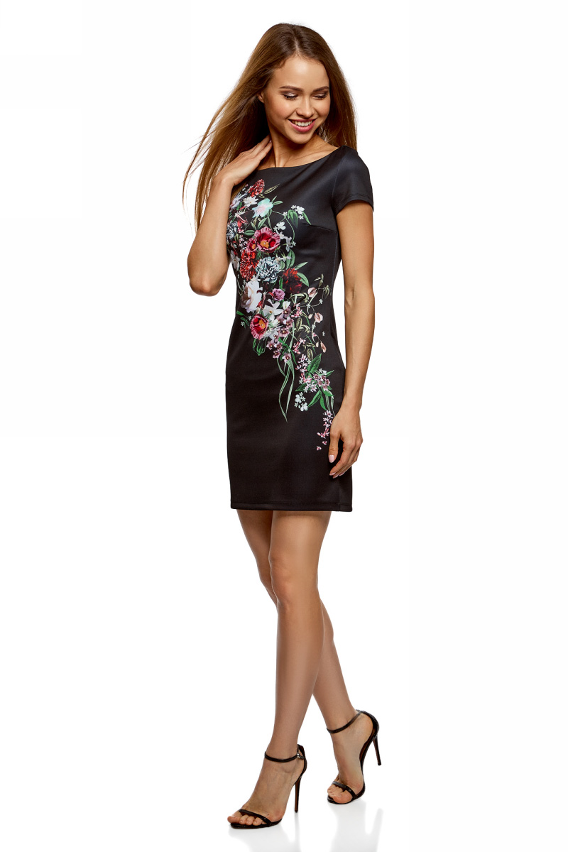 Платье oodji Ultra, цвет: черный, красный. 14001117-5/45344/2945F. Размер XL (50)14001117-5/45344/2945FЛаконичное облегающее платье oodji Ultra выполнено из качественного трикотажа и оформлено оригинальным принтом. Модель мини-длины с вырезом-лодочкойи короткими рукавами выгодно подчеркивает достоинства фигуры.