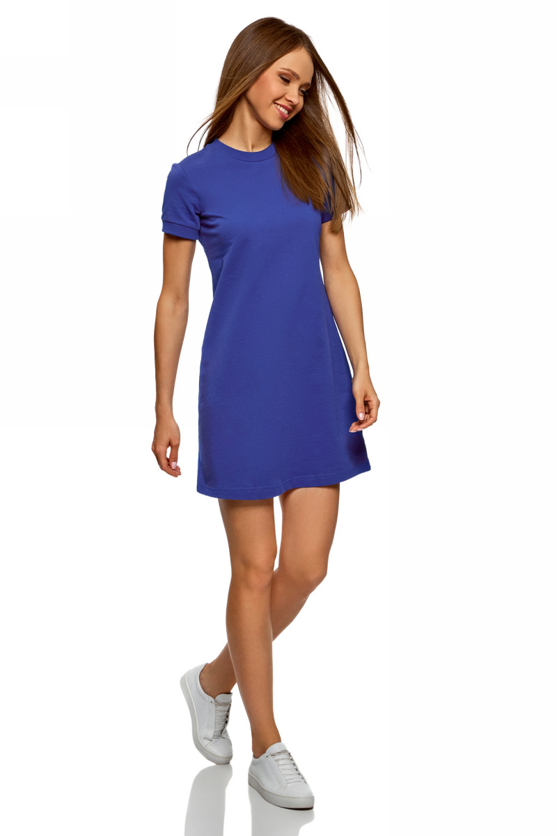Платье oodji Ultra, цвет: синий. 14000162B/47481/7500N. Размер XS (42)14000162B/47481/7500NТрикотажное платье от oodji выполнено из натурального хлопка. Модель с круглым вырезом горловины и короткими рукавами.