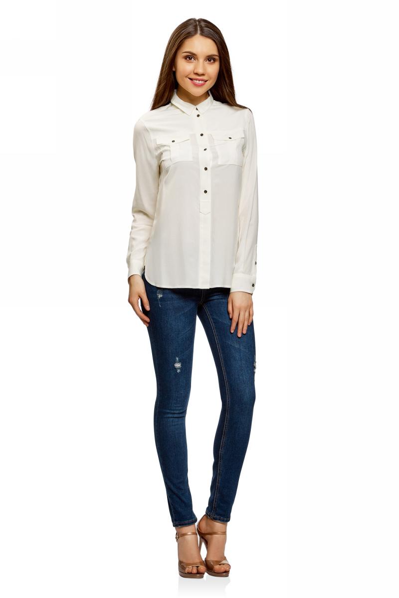 Рубашка женская oodji Ultra, цвет: белый. 11411114-1/47046/1200N. Размер 44-170 (50-170) игровые наборы mattel форсаж игровой набор