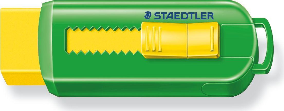 Staedtler Ластик 525 PS цвет желтый зеленый525PS1S_желтый, зеленыйУникальный дизайн ластика 525PS со скользящей пластиковой манжеткой. Не содержит ПВХ, а также фталата и латекса. Минимальное количество крошек. Удобство в использовании благодаря выдвижному механизму.