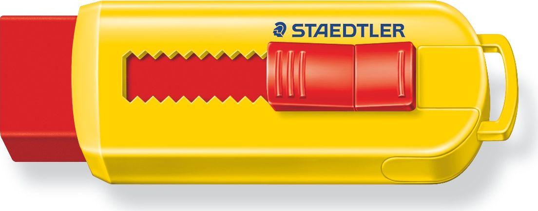 Staedtler Ластик 525 PS цвет красный желтый525PS1S_красный, желтыйЛастик с выдвижным механизмом со скользящей пластиковой манжеткой. Не содержит ПВХ, а также фталата и латекса. Минимальное количество крошек.