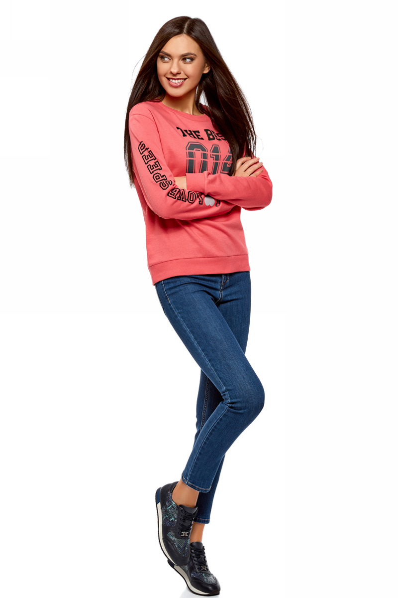 Свитшот женский oodji Ultra, цвет: розовый. 14808015-23/46151/4119P. Размер S (44)14808015-23/46151/4119PСвитшот от oodji выполнен из натурального хлопкового трикотажа. Модель свободного кроя с длинными рукавами и круглым вырезом горловины спереди и на рукаве оформлен надписями. Манжеты рукавов и низ изделия дополнены трикотажными резинками.