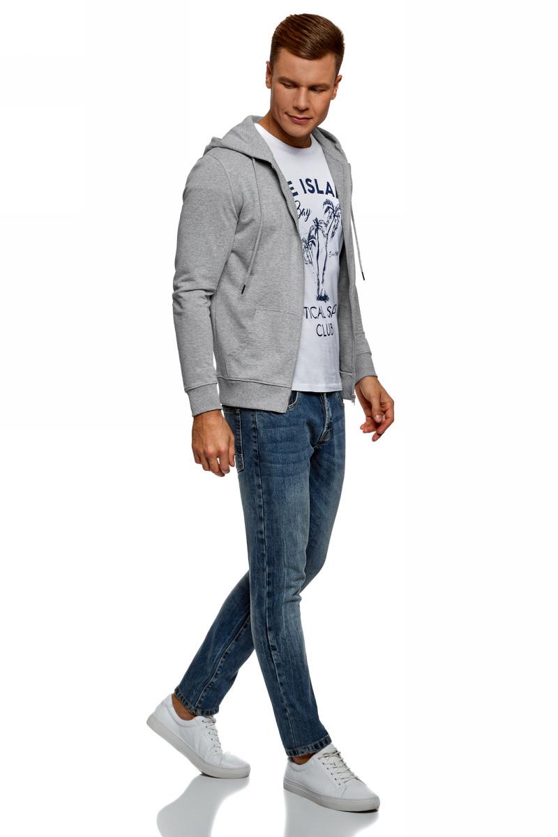 Толстовка мужская oodji Basic, цвет: серый. 5B115004M/47648N/2300M. Размер L (52/54)