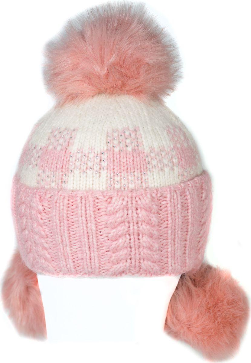 Шапка женская Mitya Veselkov, цвет: белый, персиковый. SH2010-10. Размер универсальныйSH2010-10Качественная, яркая шапка. Согреет Вас зимой и станет заметным элементом Вашего стиля.