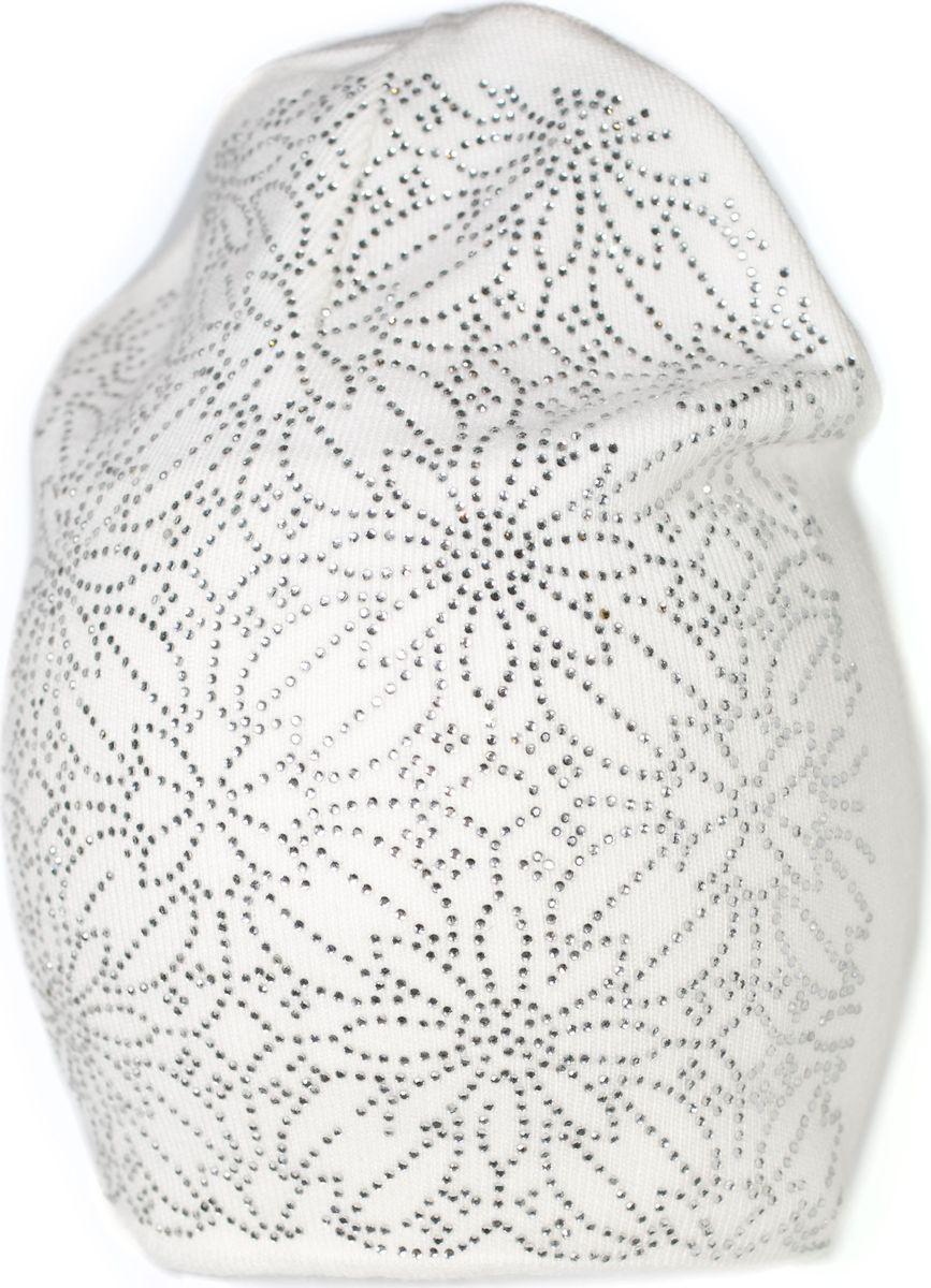 Шапка женская Mitya Veselkov, цвет: белый. SH2010-2-2. Размер универсальныйSH2010-2-2Качественная, яркая шапка от Mitya Veselkov согреет вас зимой и станет заметным элементом вашего стиля. Шапка выполнена из шерстяной пряжи с добавлением кашемира и акрила и декорирована стразами.