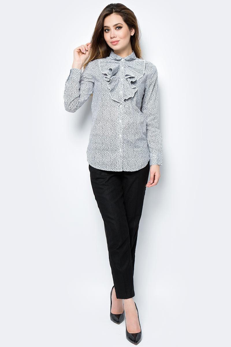 Рубашка жен United Colors of Benetton, цвет: белый, черный, растительный. 5DFX5Q865_917. Размер S (42/44)5DFX5Q865_917