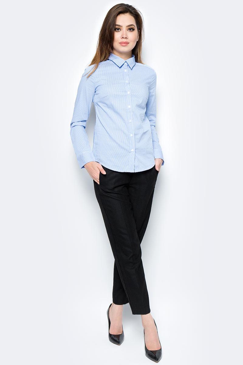 Рубашка женская United Colors of Benetton, цвет: голубой, белый. 5BRP5Q0V5_955. Размер S (42/44)5BRP5Q0V5_955Рубашка женская United Colors of Benetton выполнена из качественного материала. Модель с отложным воротником застегивается на пуговицы.