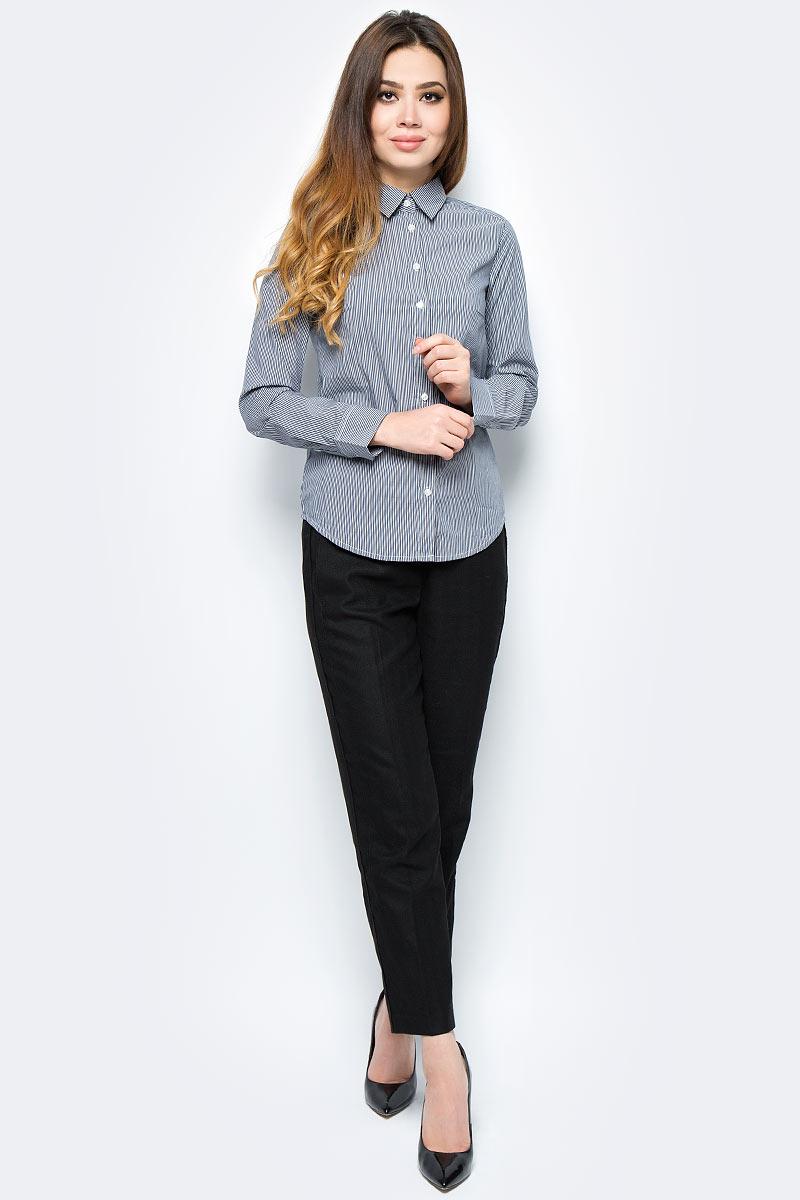 Рубашка жен United Colors of Benetton, цвет: черный, белый, полоска. 5BRP5Q0V5_973. Размер S (42/44)5BRP5Q0V5_973Рубашка женская United Colors of Benetton выполнена из качественного материала. Модель с отложным воротником застегивается на пуговицы.
